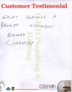 Customer testimonial F Maltby